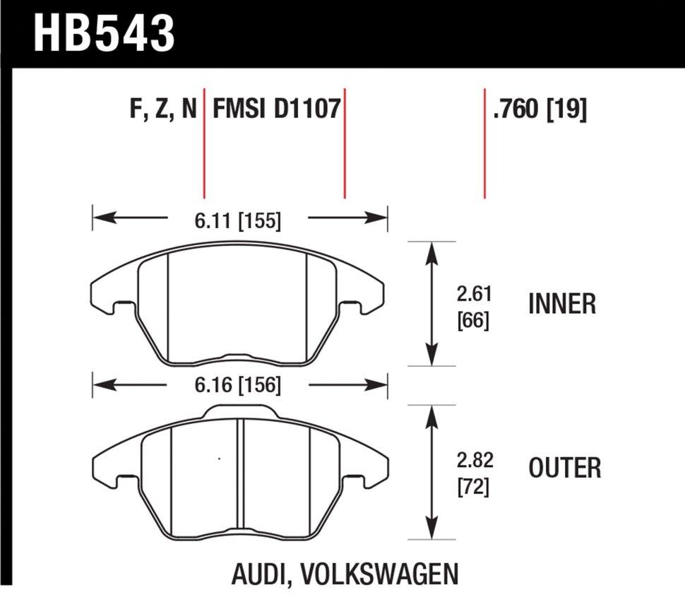 тормозные колодки hawk HB543Z.760